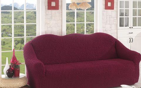 Чехол для дивана трехместный без юбки арт2652 бордо