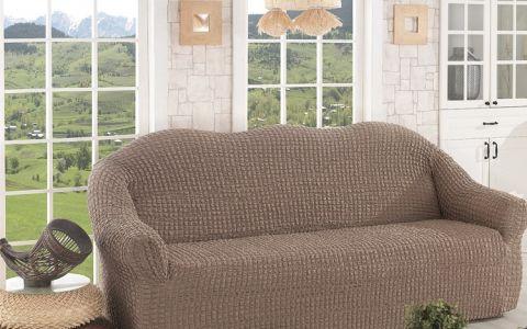 Чехол для дивана двухместный без юбки арт2651 кофе