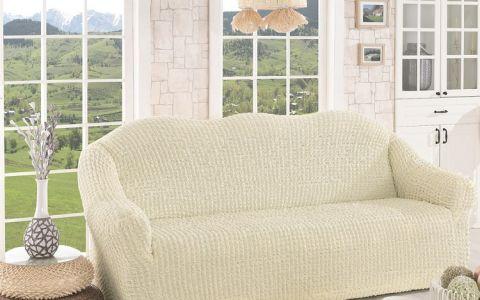 Чехол для дивана трехместный без юбки арт2652 крем