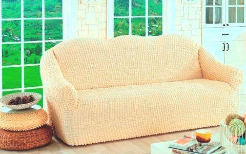 Чехол для дивана трехместный без юбки арт2652 натуральный