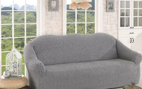 Чехол для дивана трехместный без юбки арт2652 серый