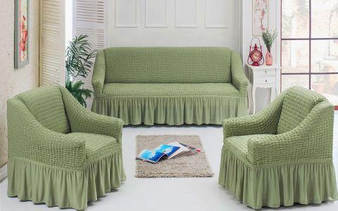Чехлы универсальные на диван и 2 кресла Хаки 7565