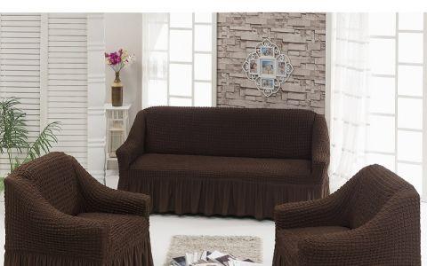 Набор чехлов на 2мест диван и кресла  Шоколад арт7565