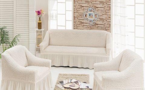 Набор чехлов диван и 2 кресла 3+1+1 Крем арт7565