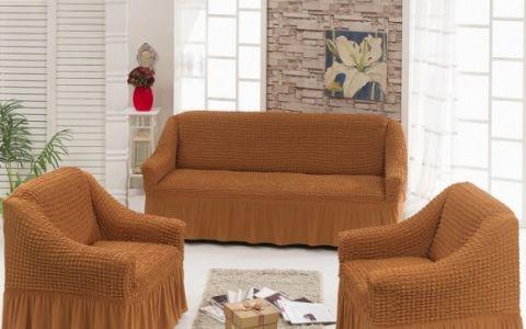 Набор чехлов диван и 2 кресла Рыжий арт7565