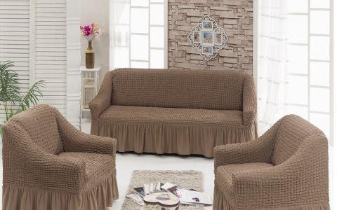 Набор чехлов на 2м диван и 2 кресла Серо Коричневый (кофе) арт7565