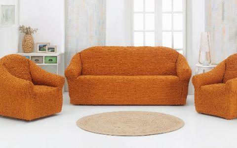 Набор чехлов на диван и кресла без юбки Karna Горчичный арт.1780