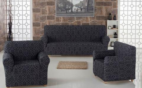 Набор чехлов диван и кресла Milano арт.2683 Антрацит