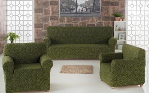 Набор чехлов диван и кресла Milano арт.2683 Зеленый