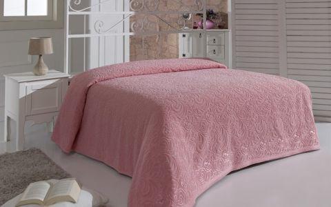 """Простынь махровая """"KARNA"""" ESRA 200x220 арт.1788 Розовый"""