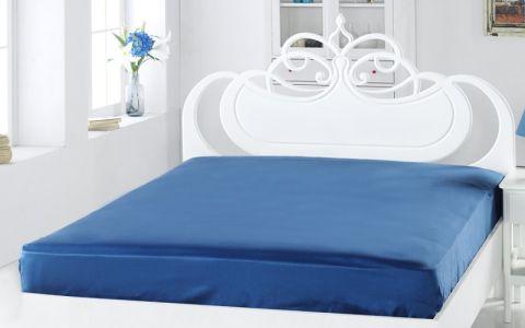 Простыня сатин Турция 240х260 синяя арт.220/10
