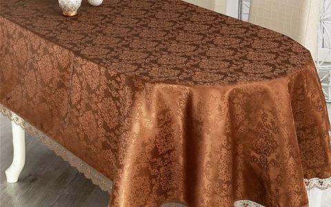 Скатерть овальная 160х280 с гипюром NIHAN арт.860/3 коричневая