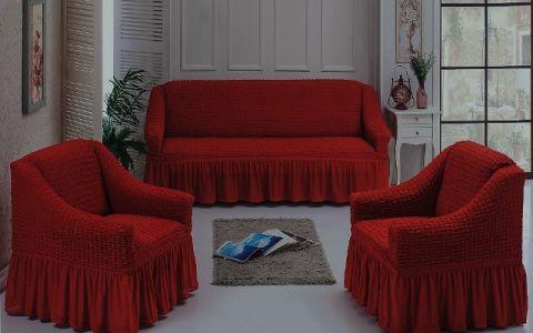 Чехлы универсальные на диван и 2 кресла Терракота 7565