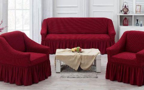 Набор чехлов на диван и кресла Хлопок Juanna Koza арт9524 бордовый