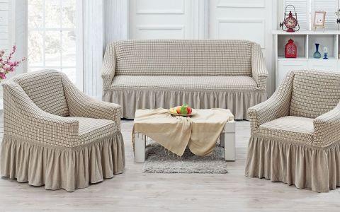 Набор чехлов на диван и кресла Хлопок Juanna Koza арт9524 крем