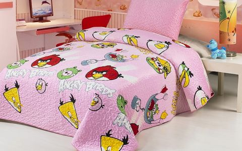 Покрывало Angry Birds розовое арт2262-04