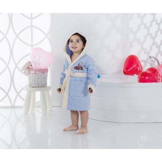 Детский халат с капюшоном Karna Snop №2820 голубой