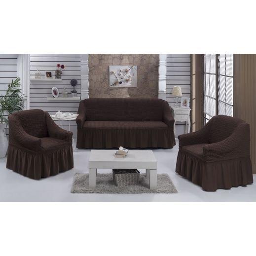 Набор чехлов диван и 2 кресла 3+1+1 Шоколад арт ам7565
