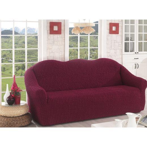 Чехол для дивана без юбки арт к 043 бордо