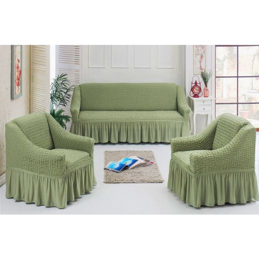 Чехлы универсальные на диван и 2 кресла фисташка 7565