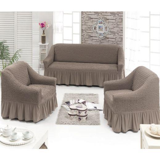 Набор чехлов диван и 2 кресла 3+1+1 Капучино ам7565