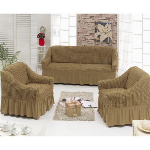 Набор чехлов диван и 2 кресла Кофе с молоком (Беж темный) арт ам7565