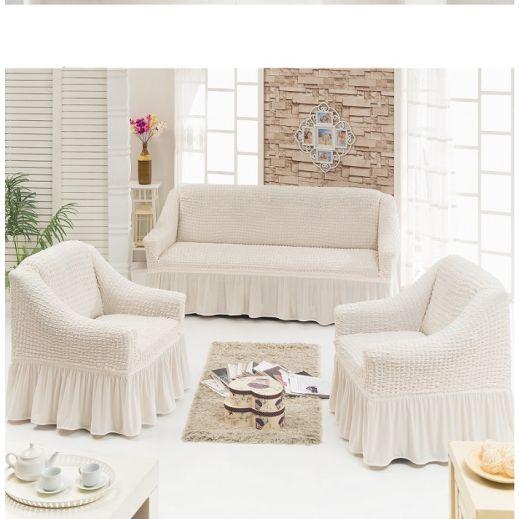 Набор чехлов диван и 2 кресла 3+1+1 Крем арт 7565