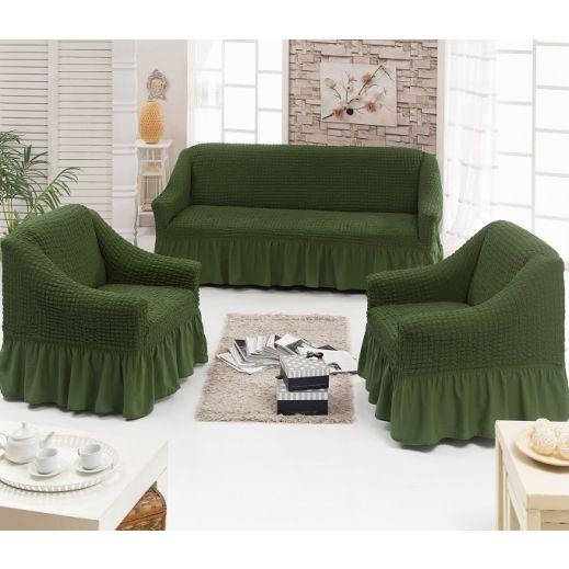 Набор чехлов диван и 2 кресла 3+1+1 Оливковый арт7565