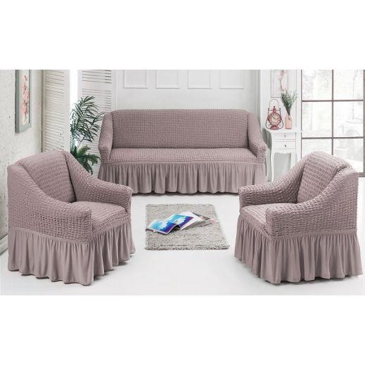 Набор чехлов диван и 2 кресла 3+1+1 какао № 7565