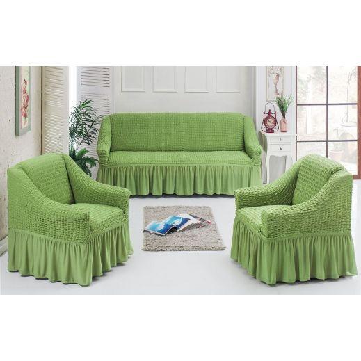 Чехлы универсальные на диван и 2 кресла Св зеленый ам7565