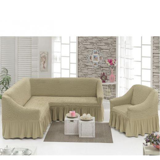 Чехол на угловой диван + Кресло DO&CO Молочный арт 8211м