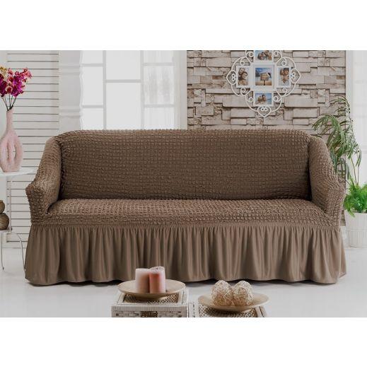 Чехол на диван 3-мест кофе СероКоричневый арт 8122м