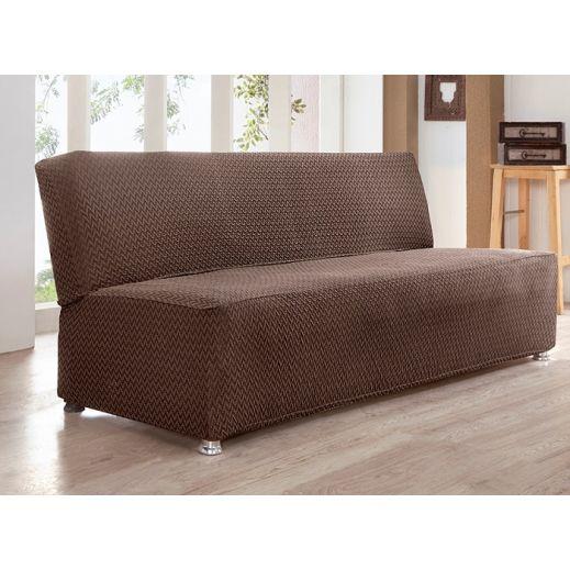 Чехол на диван без подлокотников 3 мест Karna PALERMO арт.2936 Коричневый