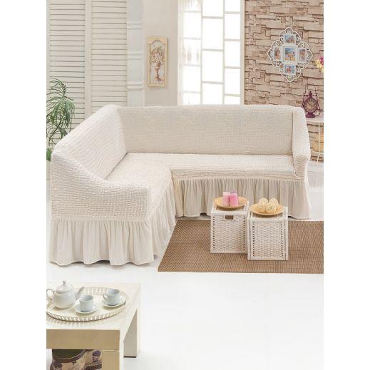 Чехол на угловой диван Кремовый арт8209м