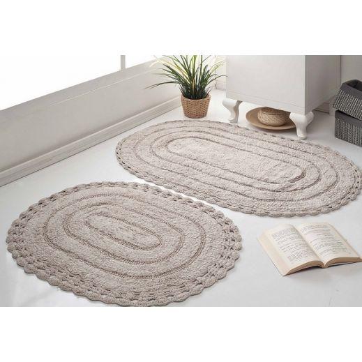 Набор ковриков кружевной YANA 60x100 +50x70 Экрю (арт 5026)