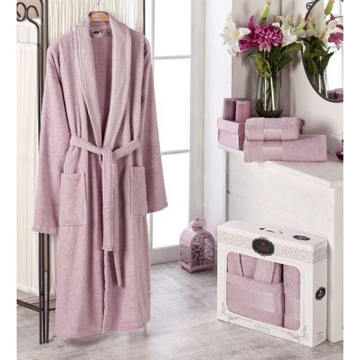 Махровый халат с полотенцем Турция Gold №10483 брусника
