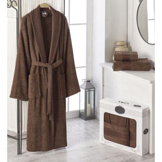 Махровый халат с полотенцем Турция Gold №10483 коричневый