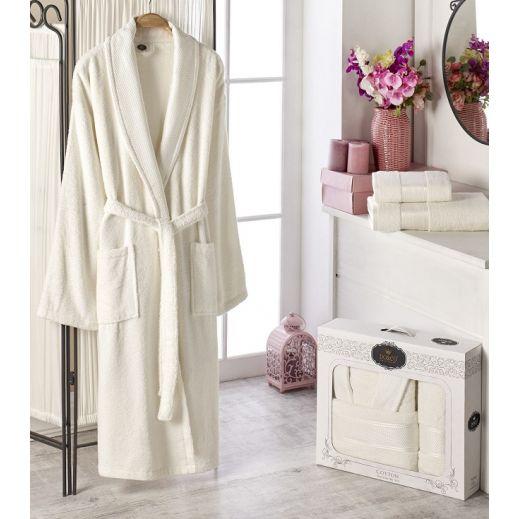 Махровый халат с полотенцем Турция Gold №10483 крем