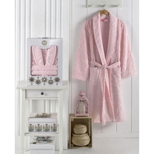 Халат с полотенцами ZENIT (р 54) №10135 розовый