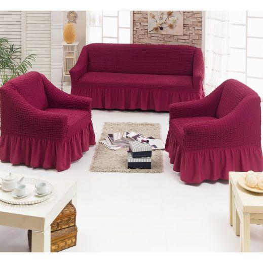 Набор чехлов диван и 2 кресла 3+1+1 Бордо арт ам7565