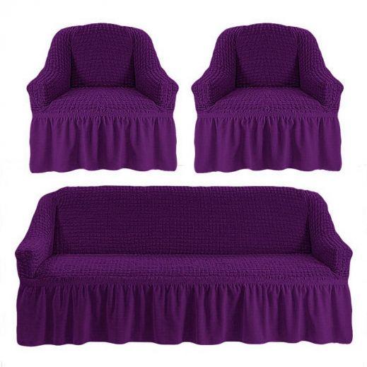 Набор чехлов диван и 2 кресла 3+1+1 Баклажан № ам 7565
