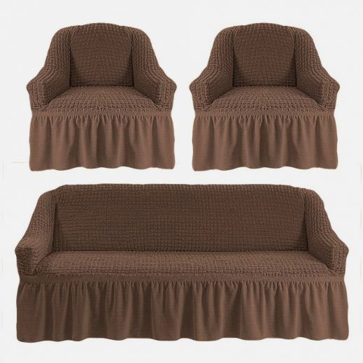 Набор чехлов диван и 2 кресла 3+1+1 Серо-коричневый арт ам7565