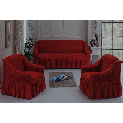 Чехлы универсальные на диван и 2 кресла Терракота ам7565