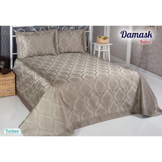 Покрывало жаккард DAMASK (250x270) Коричневый арт8998