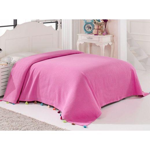 Покрывало 160х220 пике вафельное Pop розовое (арт 9849)