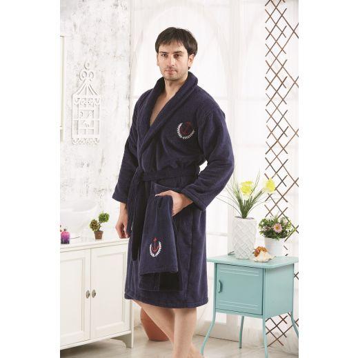 Халат с полотенцем MARINE Синий размер 2XL №3100