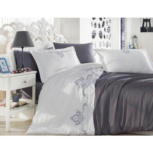 Комплект из сатина с вышивкой евро GUZDE №10062 серый