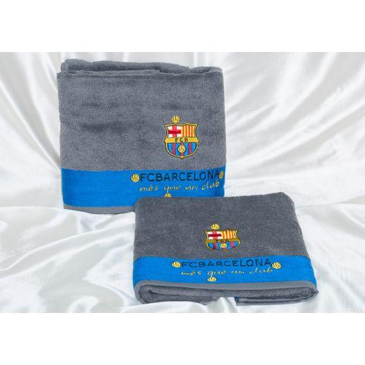 Набор полотенец ФК Барселона бамбук арт8307-03 серый