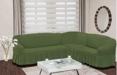Чехол на угловой диван правый BULSAN 2+3 Зеленый арт.1798