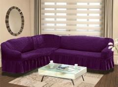 Чехол на угловой диван правосторонний BULSAN 2+3 Фиолетовый